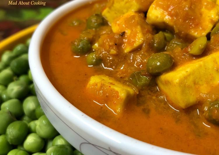 Matar Paneer Gravy (Cottage Cheese Peas Gravy) – Lunch/Dinner Recipe