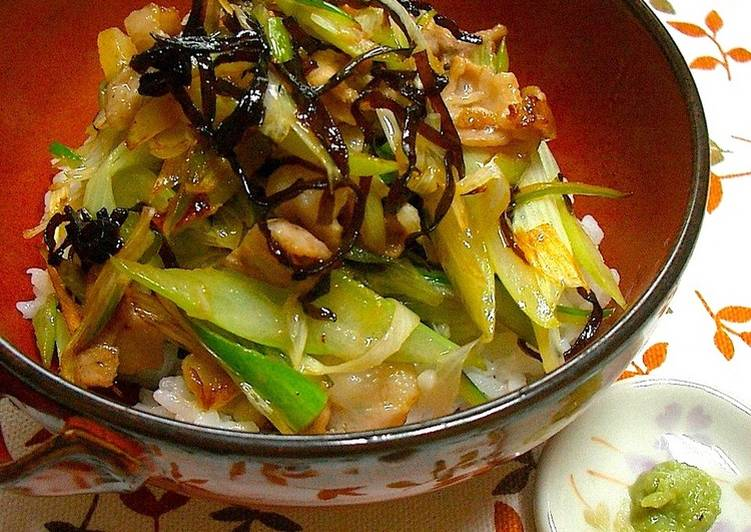 Super Quick Dish! Shio-Kombu Buttered Pork and Japanese Leek Over Rice