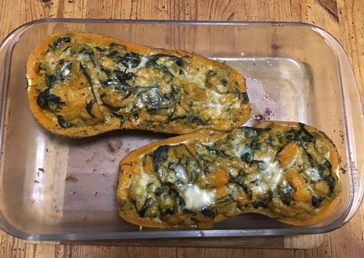 Courge butternut «Halloween» farcies épinards crème et parmesan