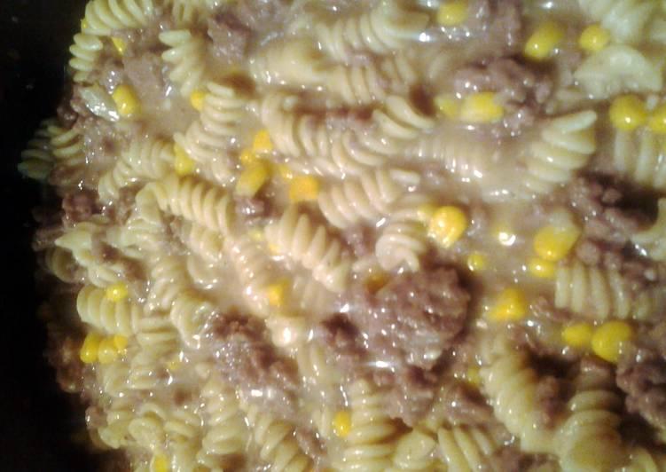 hamburger, corn, pasta