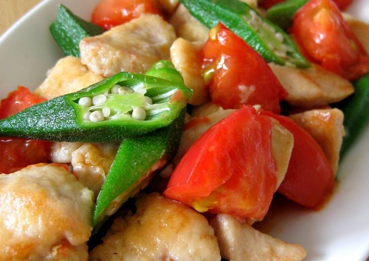 Easiest Way to Make Perfect Chicken Breast, Tomato and Okra Stir Fry With Fish Sauce