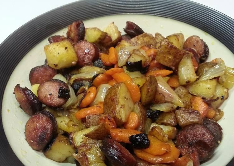 Kalbasa, potatoes, carrots and onions