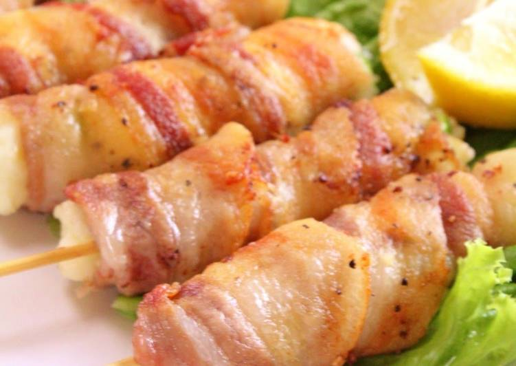 Crispy Skewered Pork Wraps with Edamame and Cheese - Laurie G Edwards