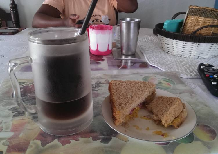 Leftover veg sandwhich with iced coffee