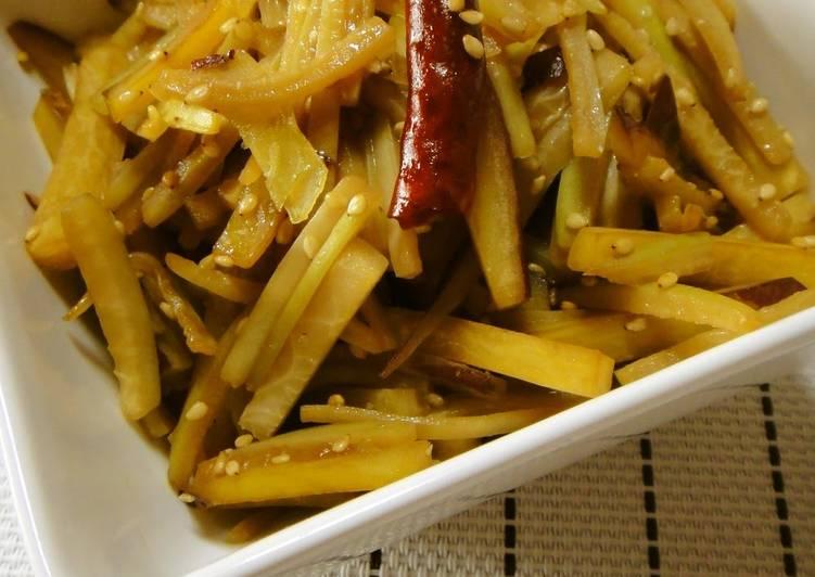 How to Prepare Homemade A Superb Kinpira Made with Seasonal Sweet Potatoes and Daikon Radish Peel!