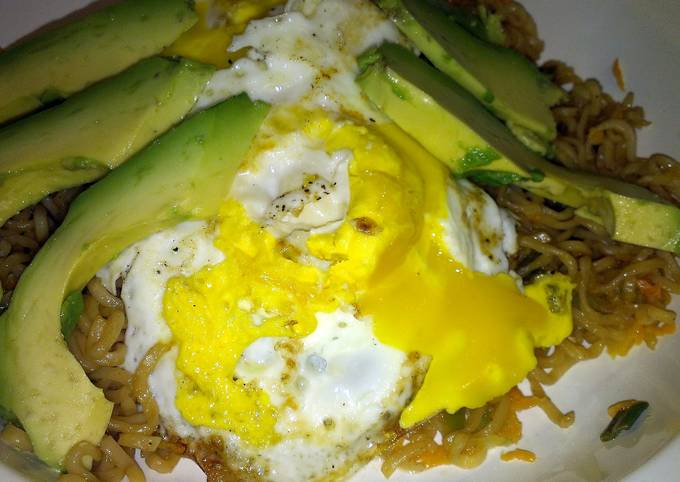 egg noodle top ramen with healthy additions