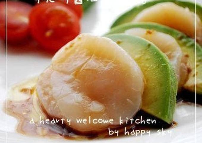 Avocado and Scallops Hors D'oeuvres with Sudachi and Soy Sauce
