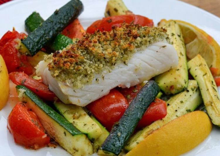 Recipe of Speedy Zesty lemon pepper baked Cod and roasted vegetables