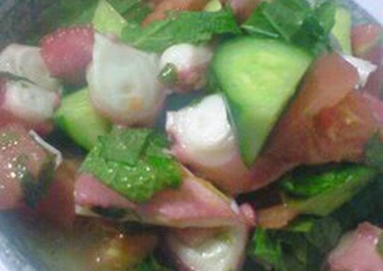 Octopus and Cucumber Salad with Lemon Dressing