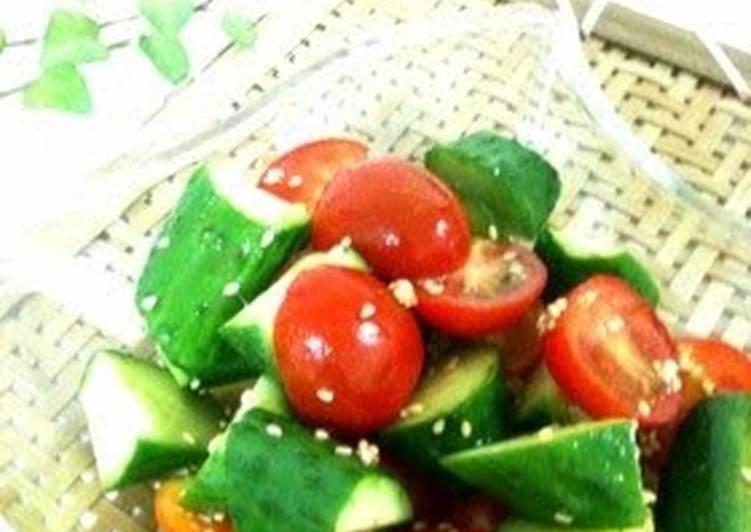 Oil-free Tomato and Cucumber Salad with Kombu Tea