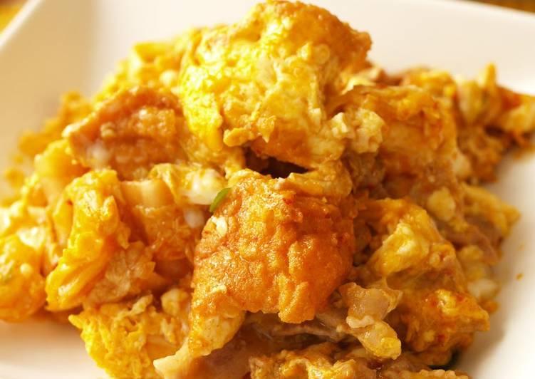 Recipe of Quick Stamina-Boosting Champuru with Kimchi and Atsuage