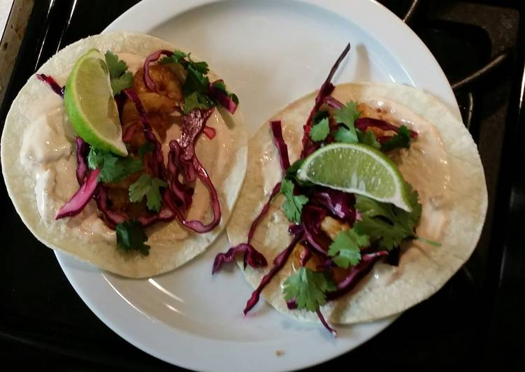Shrimp tacos with red cabbage lime slaw