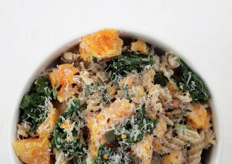 Simple Way to Prepare Favorite Butternut Squash and Kale Fusilli Pasta with Ricotta and topped with Fried Sage and Parmesan