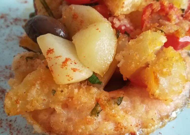 Ricetta Salmone, patate e pomodorini al forno