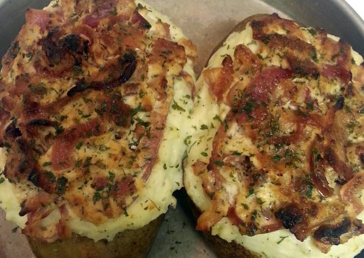 Twice Baked Potatoes with Goat Cheese, Carmalized Onions and Bacon