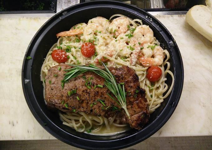 New York Stop Steak over Shrimp Scampi