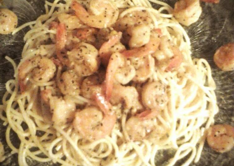 Lemon Pepper Shrimp over Pasta