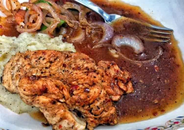 chicken steak wid brown sauce