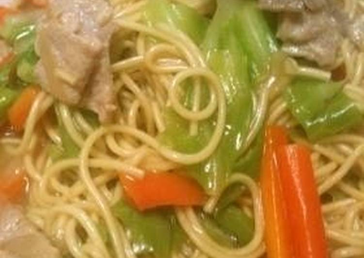 Steps to Prepare Favorite Kyushu-Style Pan Fried Ramen with Lots of Vegetables