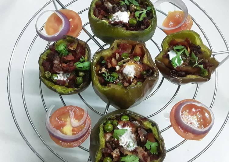 Nutrela soya chunks stuffed bell peppers