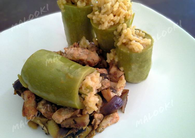 Egyptian mashi cosa (stuffed squash) with chicken vegetable stir fry