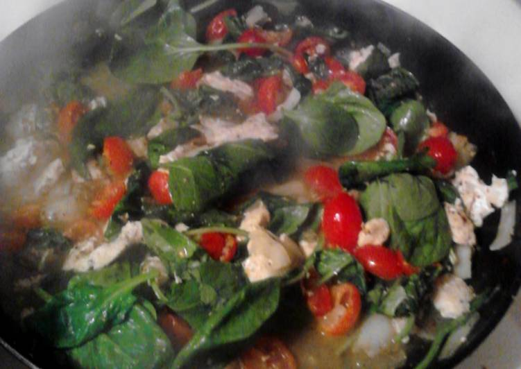 Recipe of Quick Spinach and Tomato Chicken Alfredo