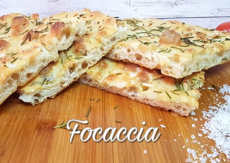 Focaccia - Pan de Pizza Italiano - Receta Fácil y sin Amasar