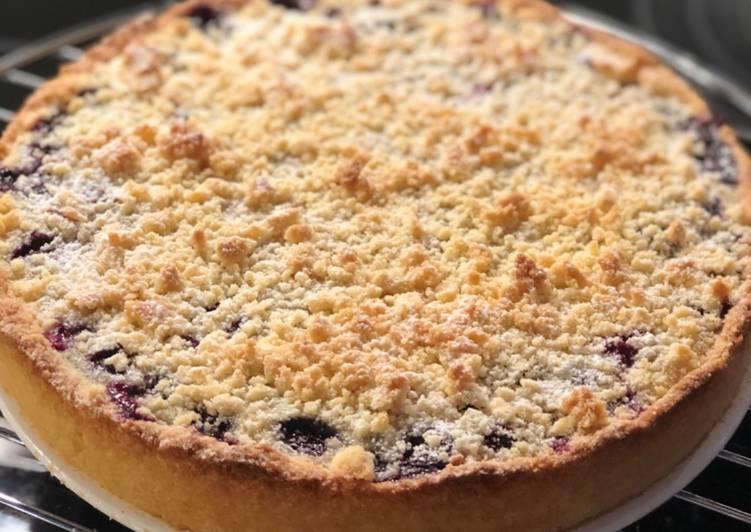 Shortbread-Pudding-Heidelbeerkuchen