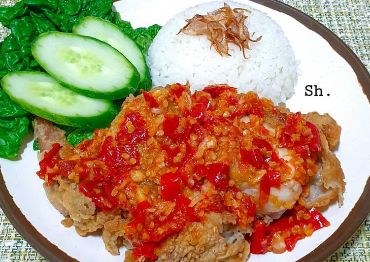 Ayam Geprek mudah dengan tepung instan (Sajiku Golden Crispy)
