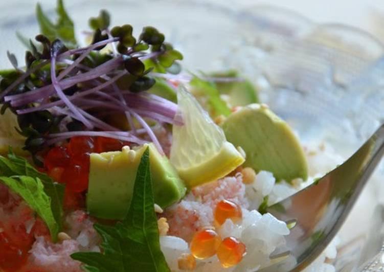 Step-by-Step Guide to Make Super Quick Homemade Cafe-style Chirashi Sushi Using Crab, Avocado, and Ikura