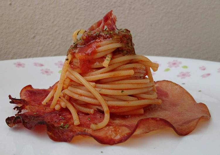 Spaghetti And Ham With Honey Whole Grain Mustard Sauce
