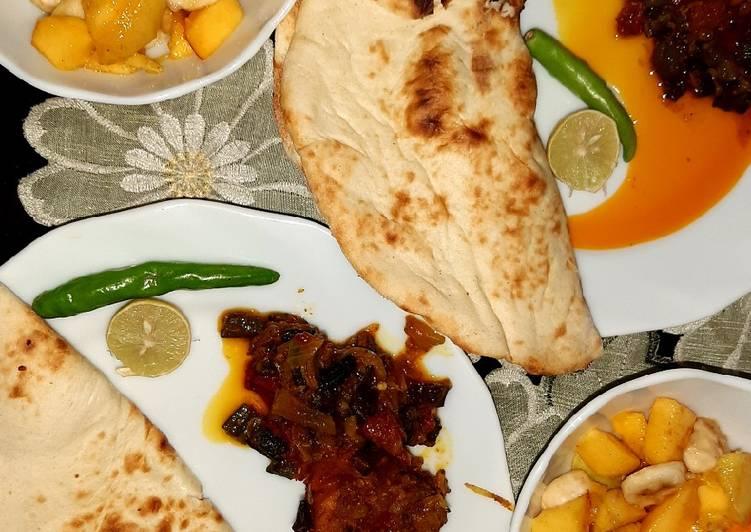 Bhindi chicken,fruit salad & homemade yogurt