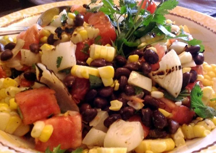 Grilled corn, onion and bean salsa