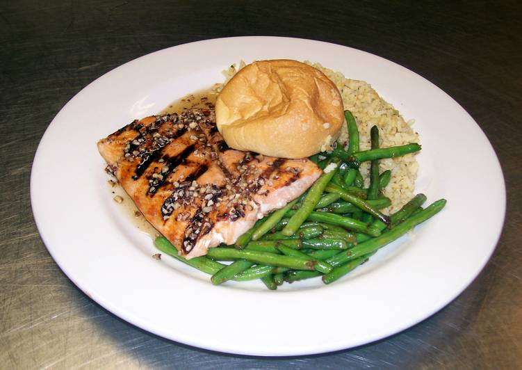 Maple Syrup, Pecan Glazed Grilled Salmon with Wild Rice and Green Beans.