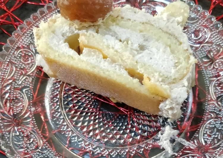 Comment Préparer Les Bûche gâteau roulé, mousse à la crème de marron maison, poires