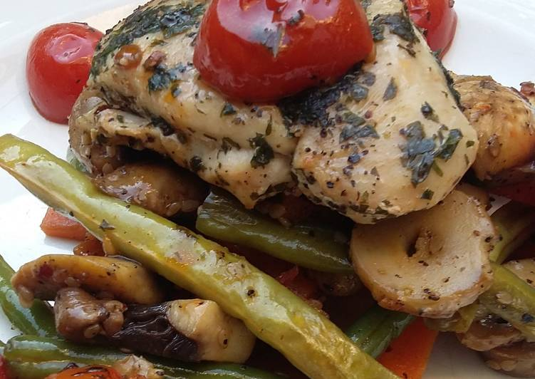 How to Prepare Super Quick Homemade Herb Crusted Chicken over Vegetable Stir Fry