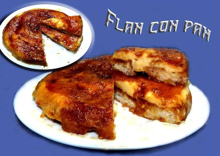 Flan con pan al microondas