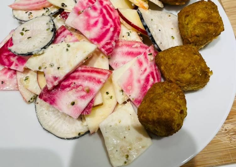 Recette Délicieuse Salade d'hiver accompagnée de falafels 🌸