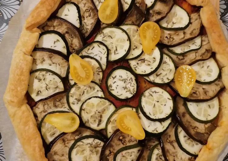 Recette Savoureux Tarte courgette aubergine