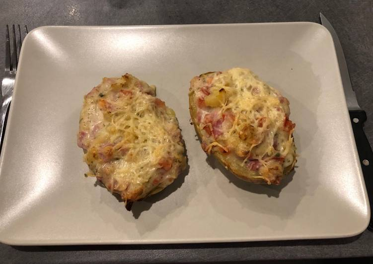 recette Pommes de terre jambon tomate et cancoillotte le délicieux