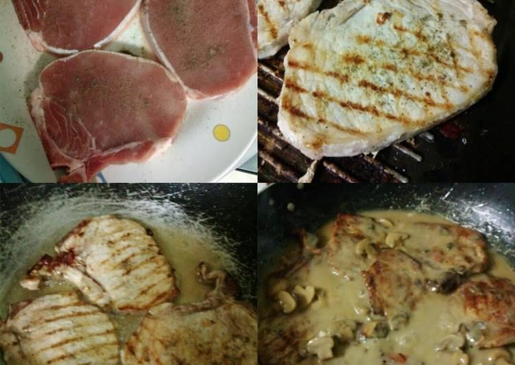 Grilled x Pan Fried Pork Chop in Mushroom Gravy