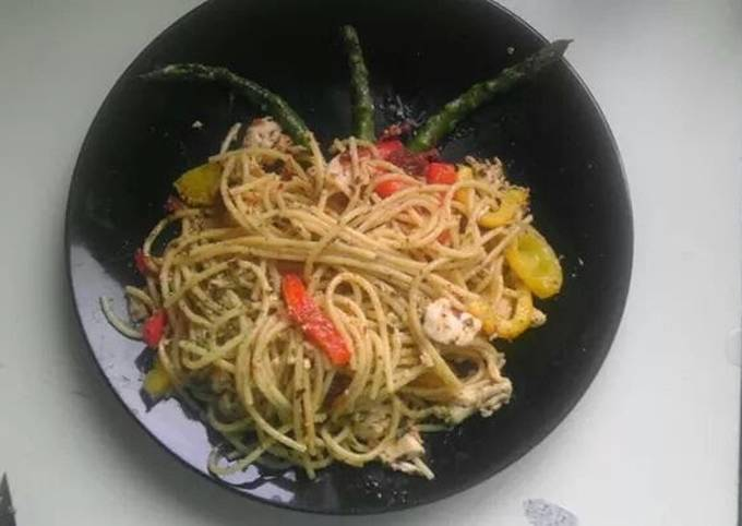 Pan fried chicken and pasta