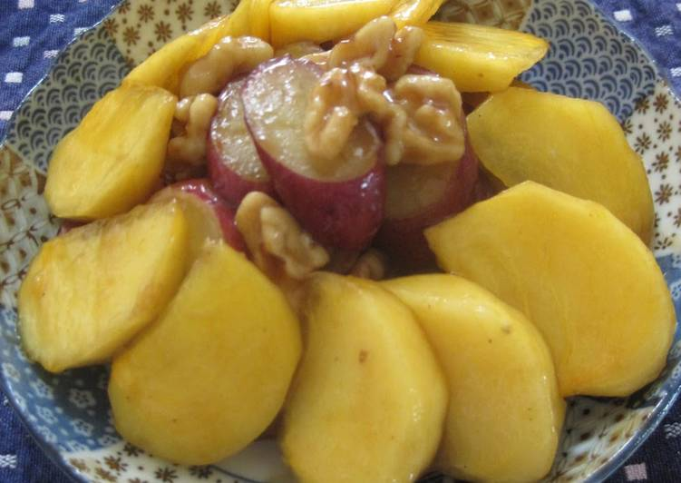 Recipe of Perfect Sweet Potato and Persimmon with Lemon Juice, Sugar, and Soy Sauce