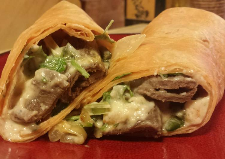 Steps to Prepare Homemade Southwest Philly Cheese Steak Wrap