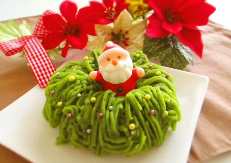 5 Minute How to Make Ultimate Wreath Shaped Matcha & Sweet Potato Mont Blanc