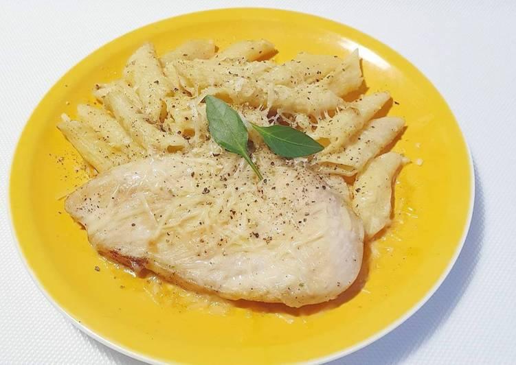 Easiest Way to Prepare Super Quick Homemade CHEESY & JUICY CHICKEN PENNE PASTA奶酪和多汁鸡肉通心粉