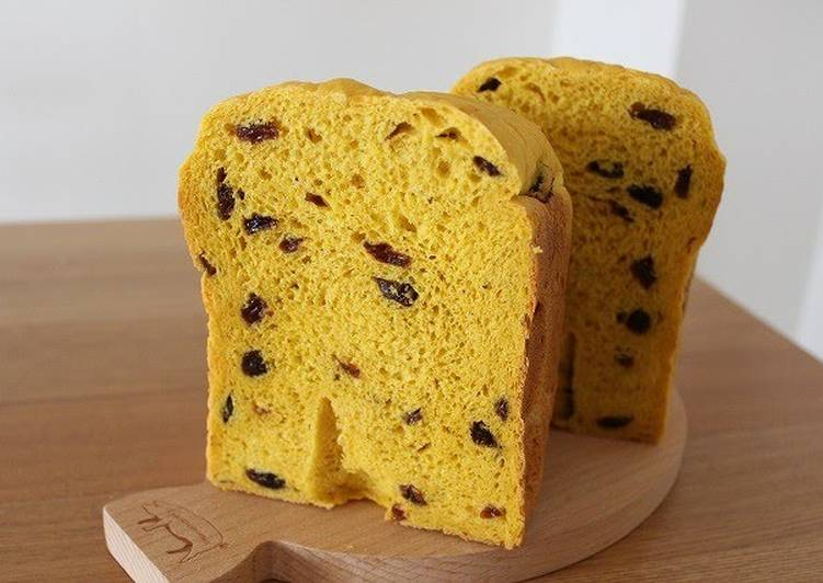Recipe of Super Quick Homemade Raisin Bread with 50% Kabocha Squash