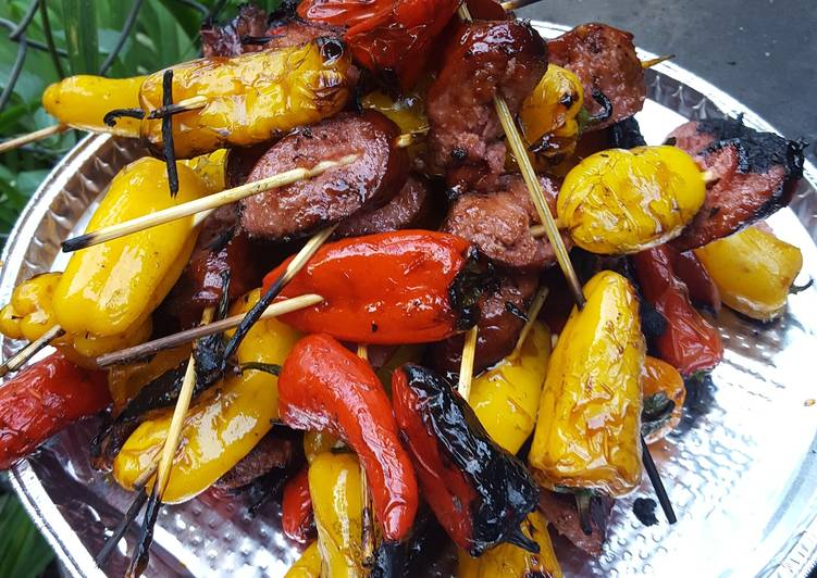 Pepper and sausage kabobs