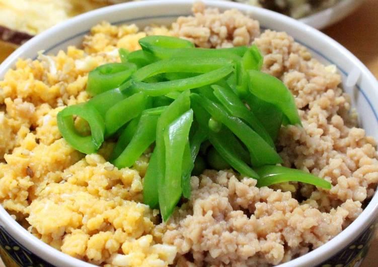 Simple Way to Prepare Ultimate One Pan Tri-colour Miso Soboro Rice Bowl