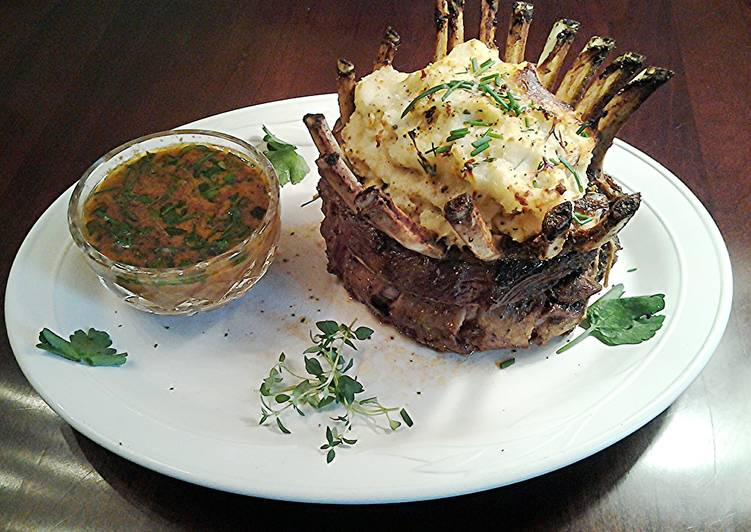 Tasty And Delicious of Crown Roast Rack of Lamb Filled with Mashed Potatos